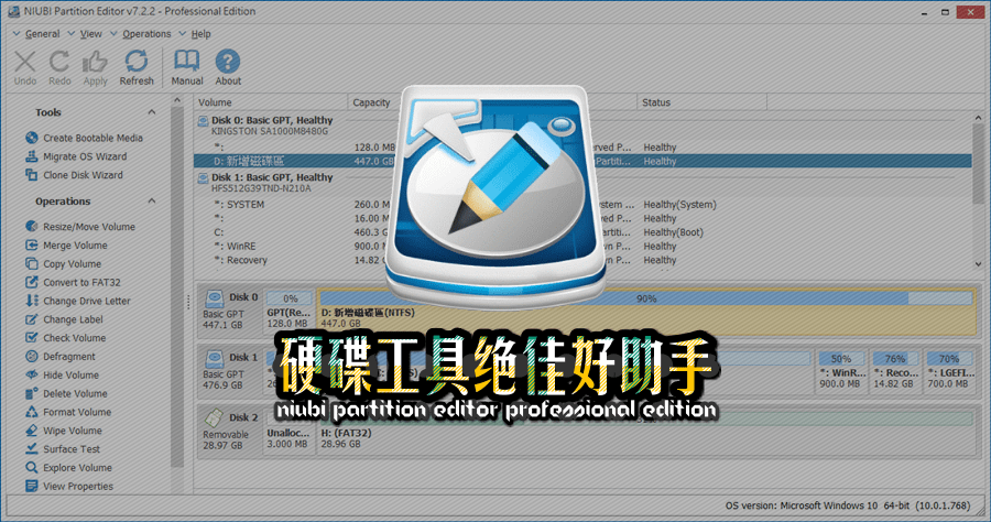 硬碟萬用工具是否有推薦的?NIUBI Partition Editor Professional Edition 免費下載