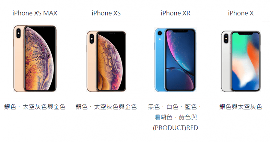 圖表比較 iPhone XR、iPhone XS、iPhone XS MAX 與 iPhone X
